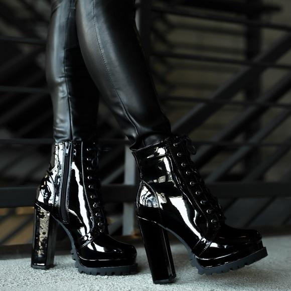 Black Patent Leather Chunky Heel